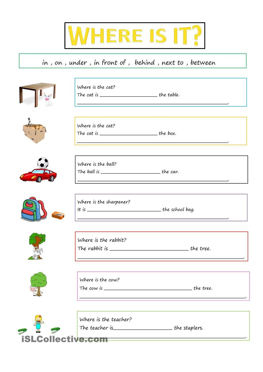 Preposition Worksheets for Grade 1 Prepositions