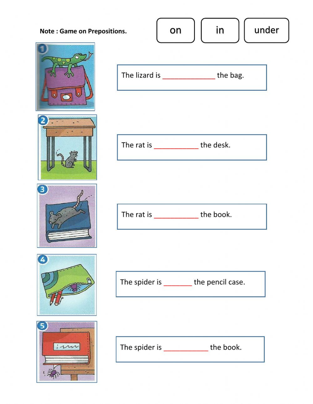 Preposition Worksheets for Grade 1 Unit 3 Pet Show Super Minds Year 1 Part 1 Interactive