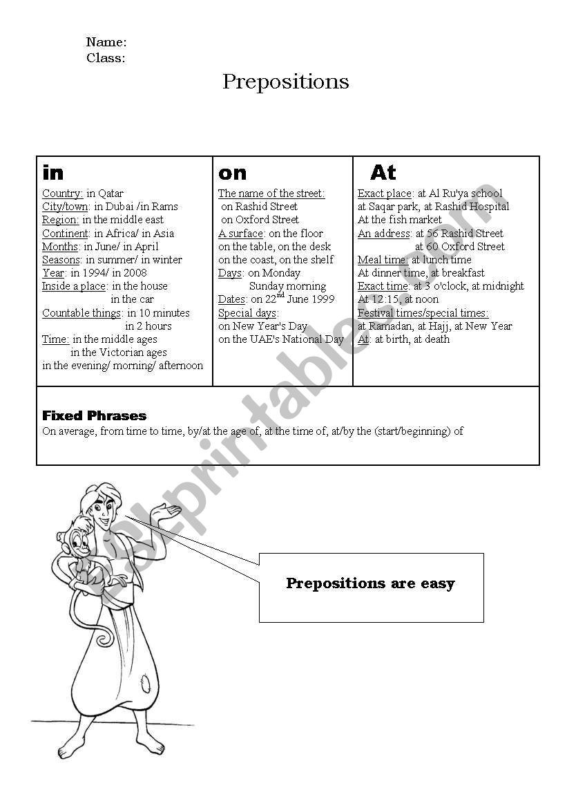Preposition Worksheets Middle School Prepositions Esl Worksheet by M Merri