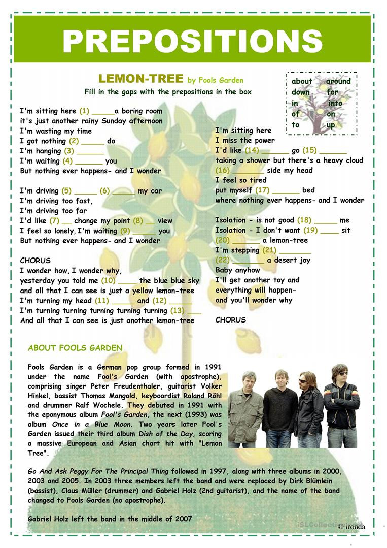 Preposition Worksheets Middle School Prepositions Lemon Tree English Esl Worksheets for