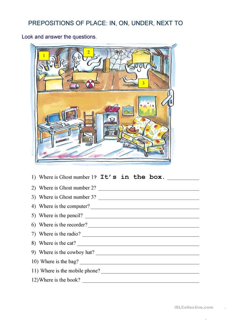 Preposition Worksheets Middle School Prepositions Of Place where is