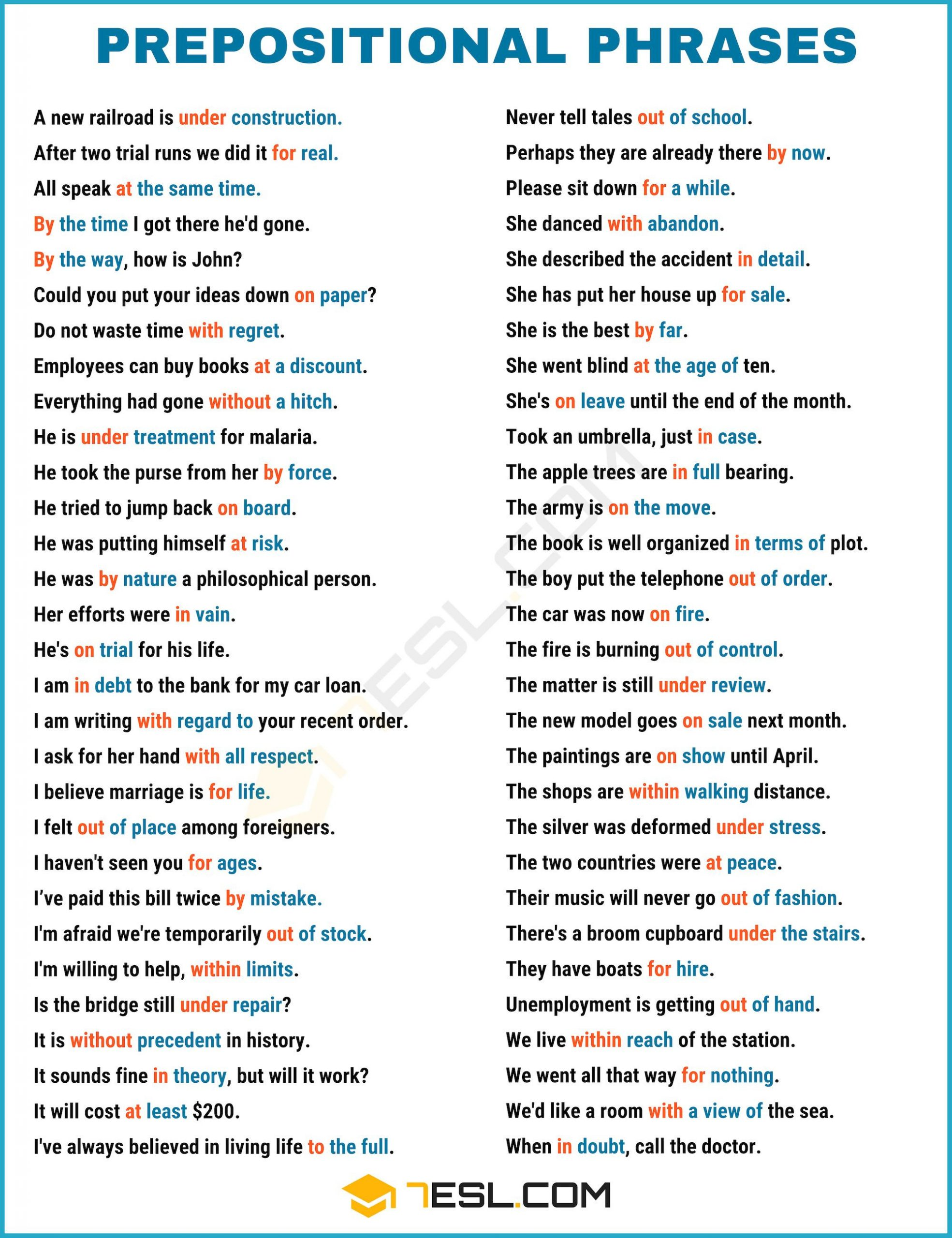 Prepositional Phrase Worksheet 4th Grade 600 Useful Prepositional Phrase Examples In English In 2020