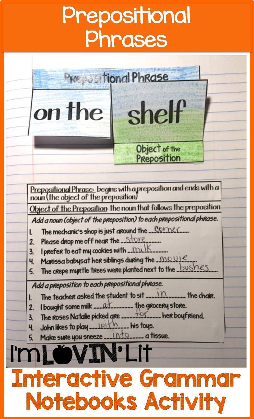 Prepositional Phrase Worksheet 4th Grade Interactive Grammar Notebooks I M Lovin Lit