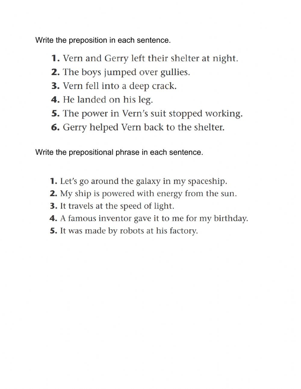 Prepositional Phrase Worksheet 4th Grade Prepositional Phrases Interactive Worksheet