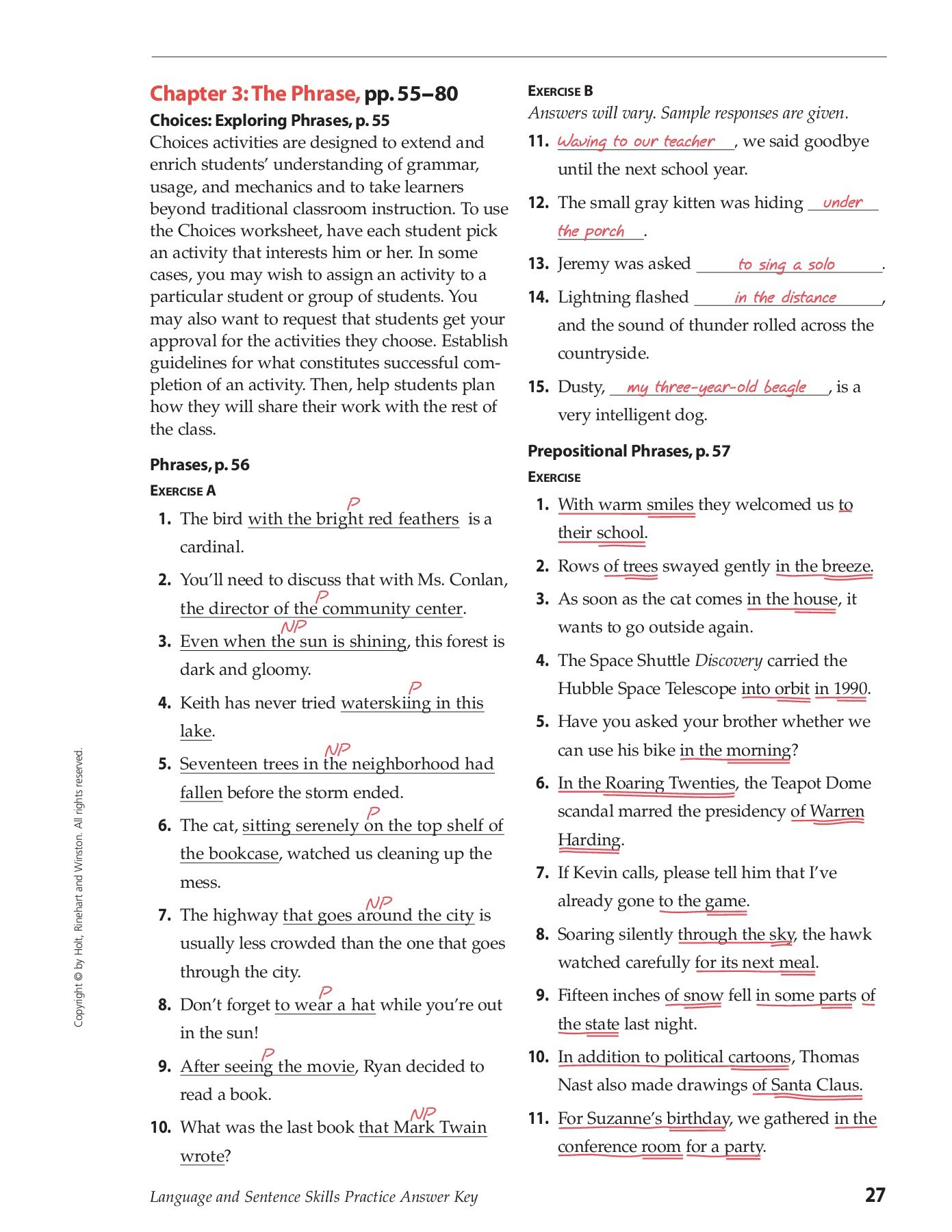 Prepositional Phrases Worksheet 6th Grade Chapter 3 the Phrase Pp 55 80 E B Hinsdale south High