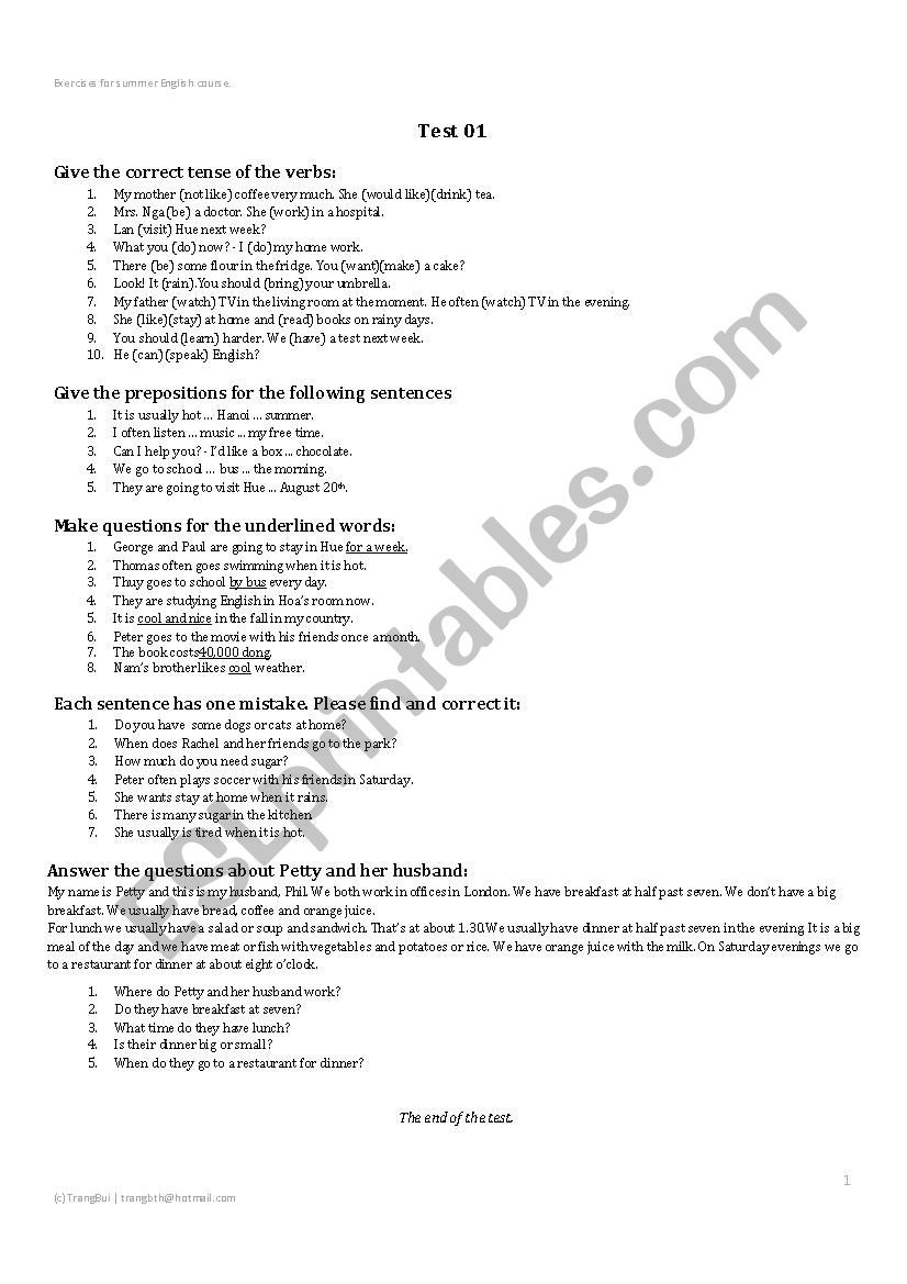 Prepositional Phrases Worksheet 6th Grade Test for 6th Grade Student In Vietnam Esl Worksheet by