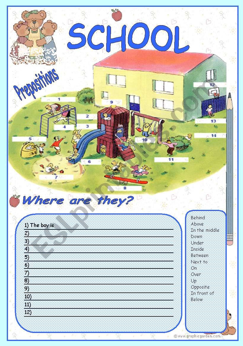 Prepositions Worksheets Middle School Prepositions Esl Worksheet by Arteacher