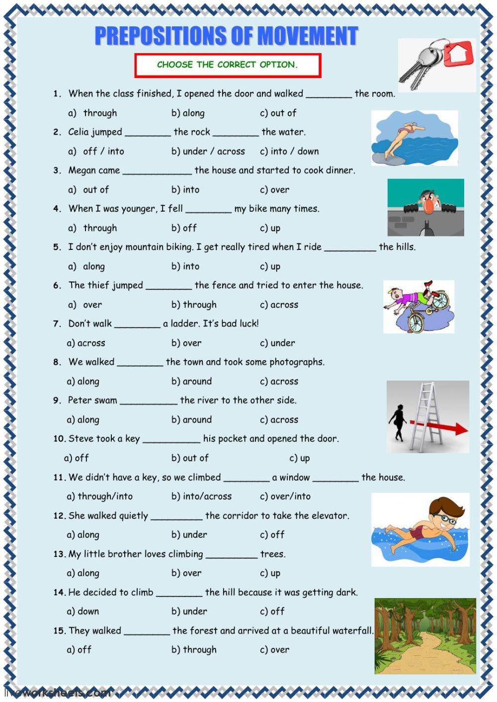 Prepositions Worksheets Middle School Prepositions Of Movement Interactive and Able