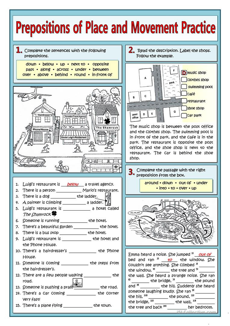 Prepositions Worksheets Middle School Prepositions Of Place and Movement Practice English Esl