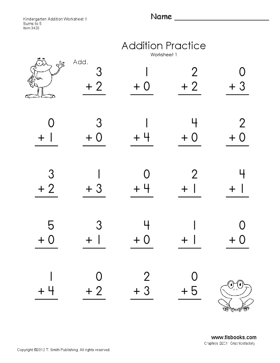 Preschool Addition Worksheets Printable Math Worksheet Simple Addition Worksheets to Learning