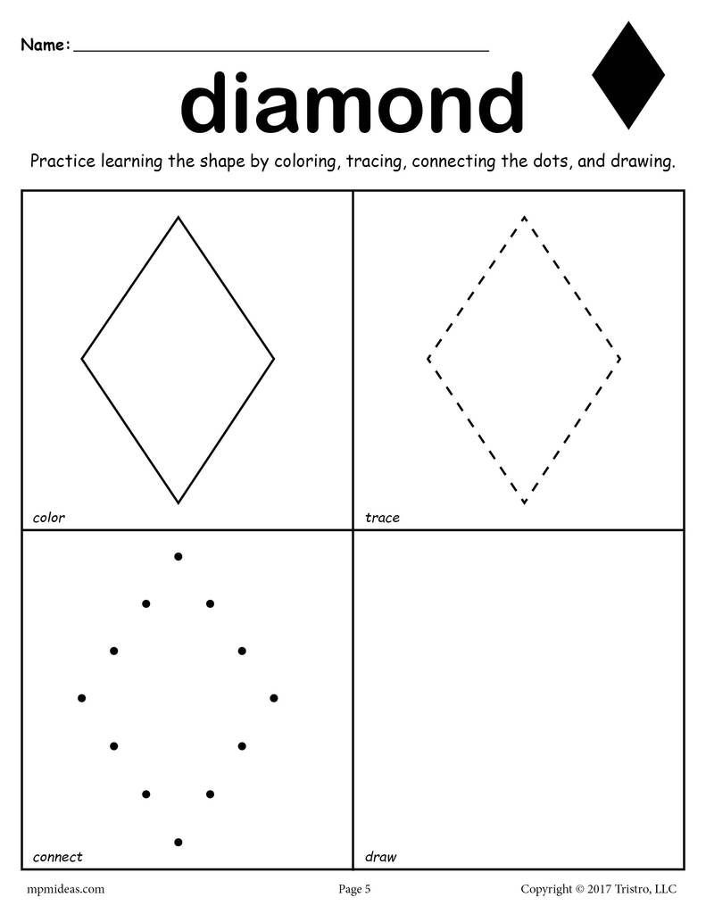 Preschool Diamond Shape Worksheets 12 Shapes Worksheets Color Trace Connect & Draw