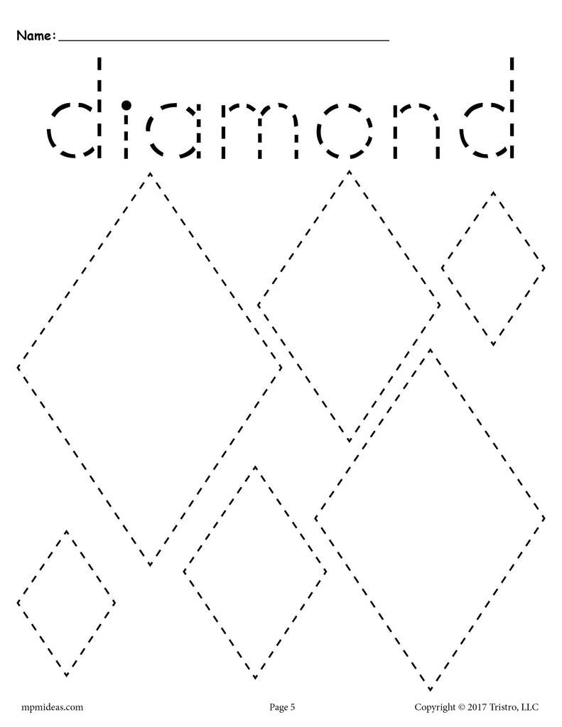Preschool Diamond Shape Worksheets Diamonds Tracing Worksheet