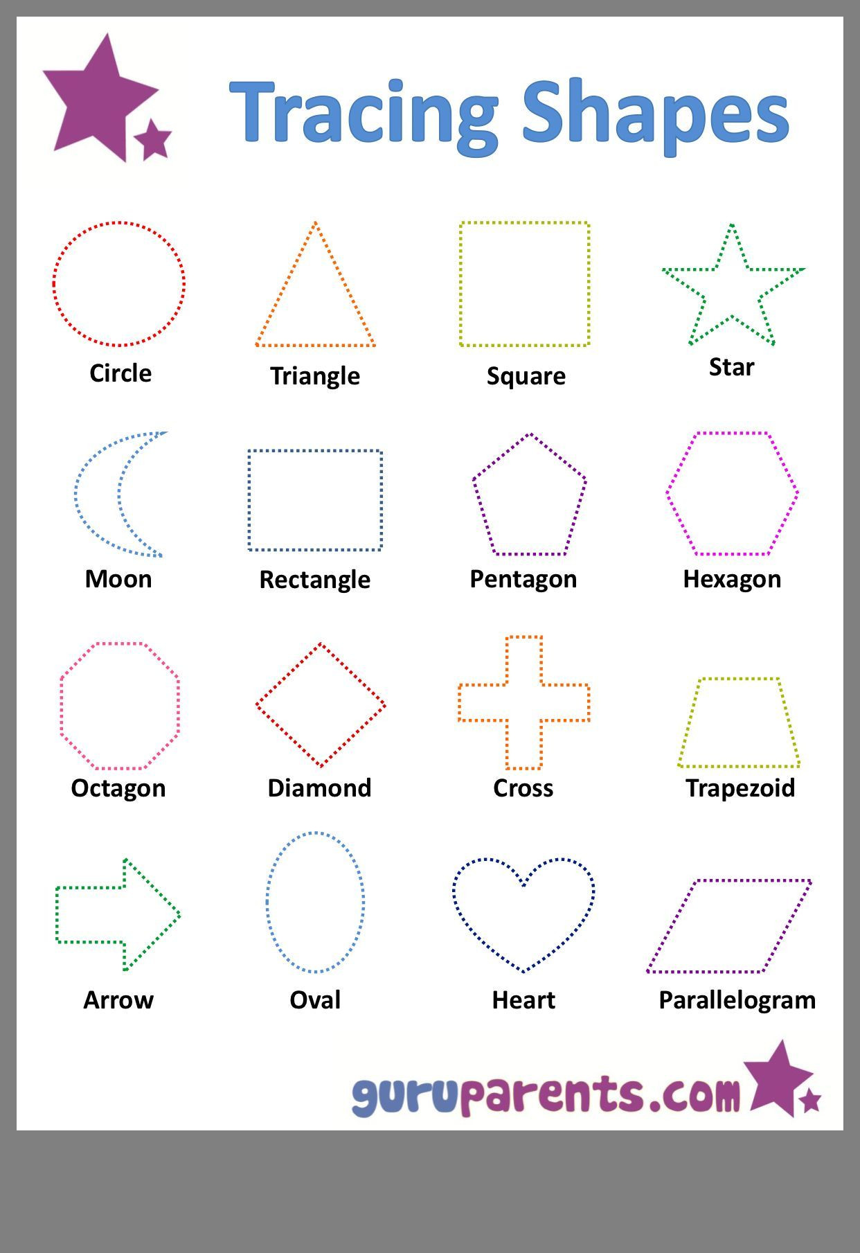 Preschool Diamond Shape Worksheets Preschool Worksheet Shapes Trace