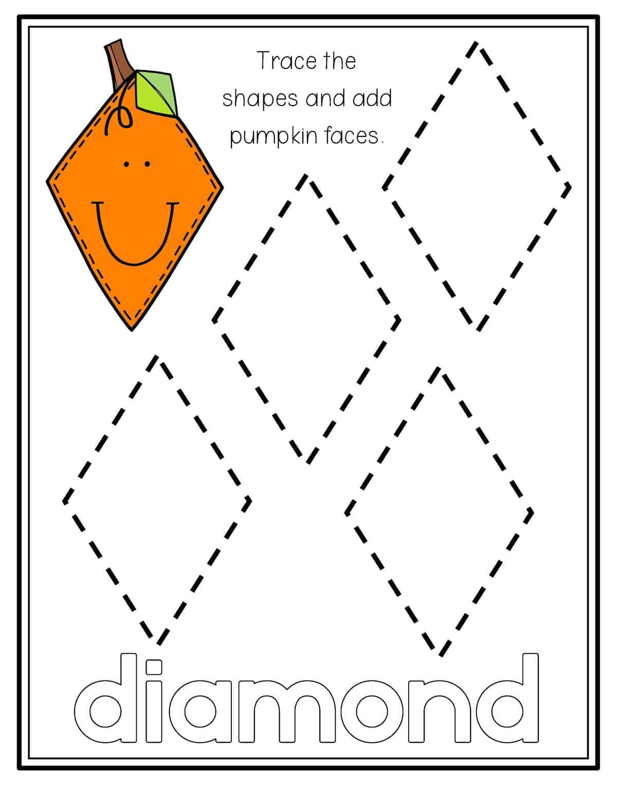 Preschool Diamond Shape Worksheets Pumpkin Shape Tracing Preschool Mom