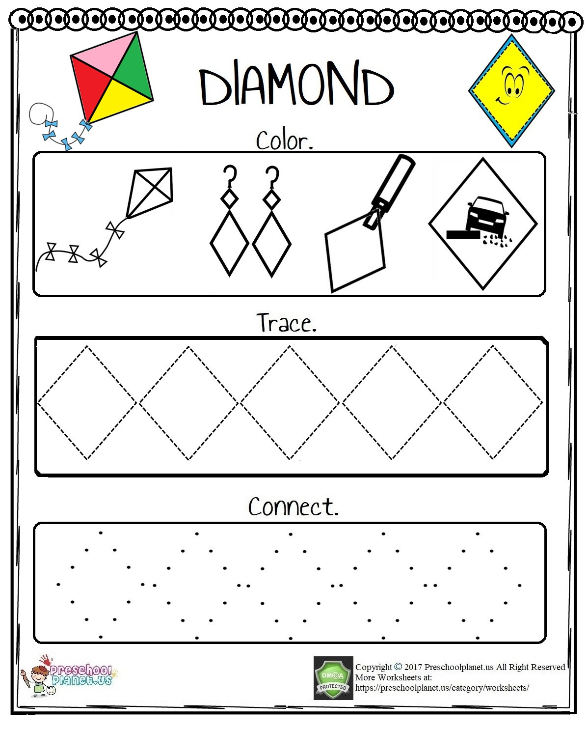 Preschool Diamond Shape Worksheets Shape Woksheet – Preschoolplanet