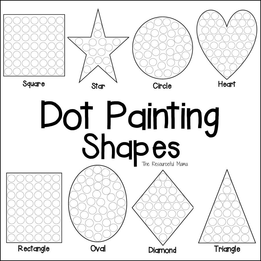 Preschool Diamond Shape Worksheets Shapes Dot Painting Free Printable the Resourceful Mama