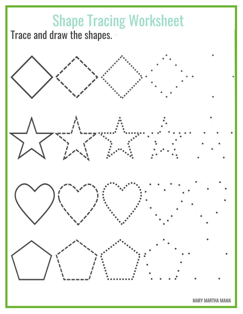 Preschool Diamond Shape Worksheets Shapes Worksheets for Preschool Free Printables Mary Martha