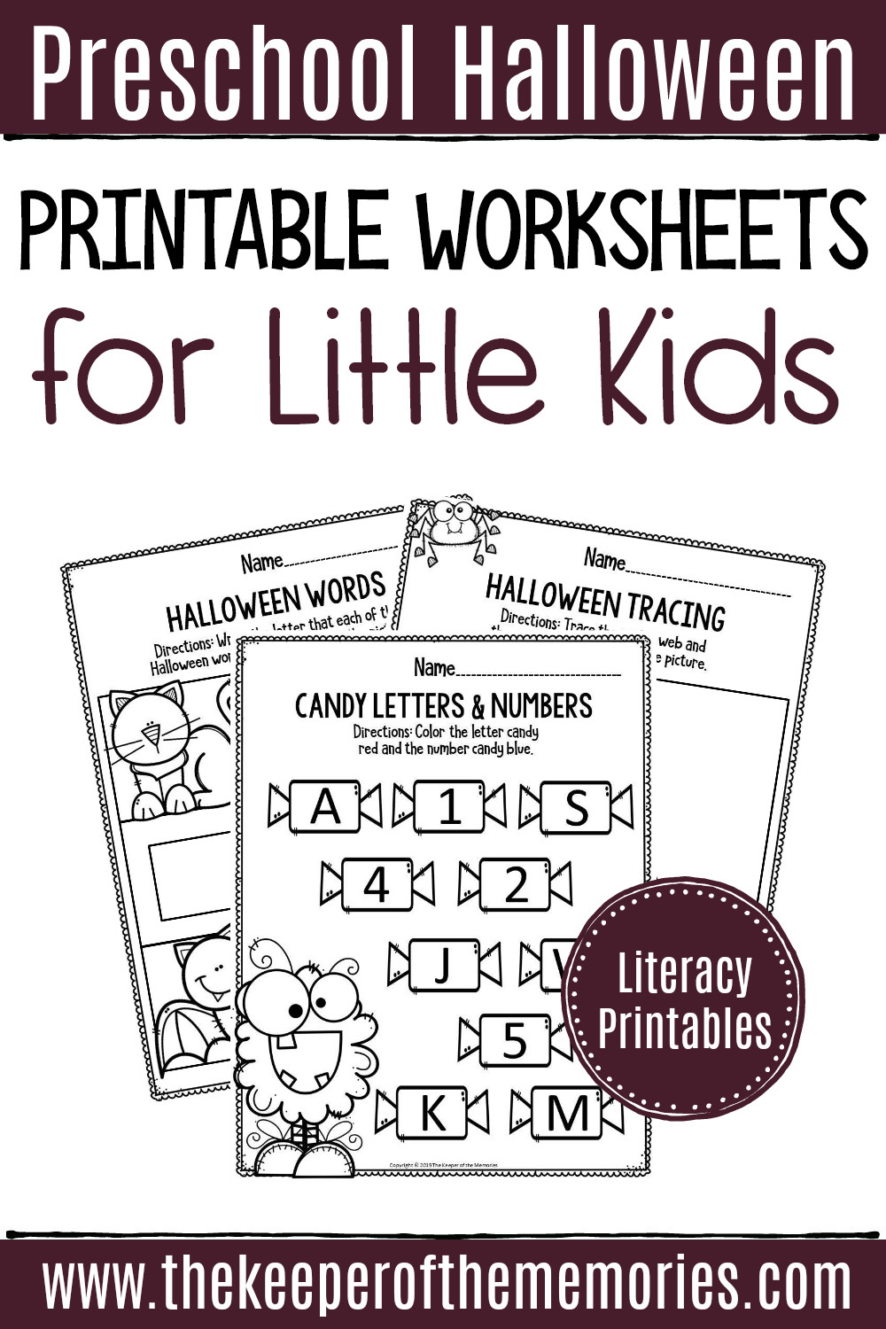 Preschool Halloween Worksheets Free Printable Literacy Halloween Preschool Worksheets