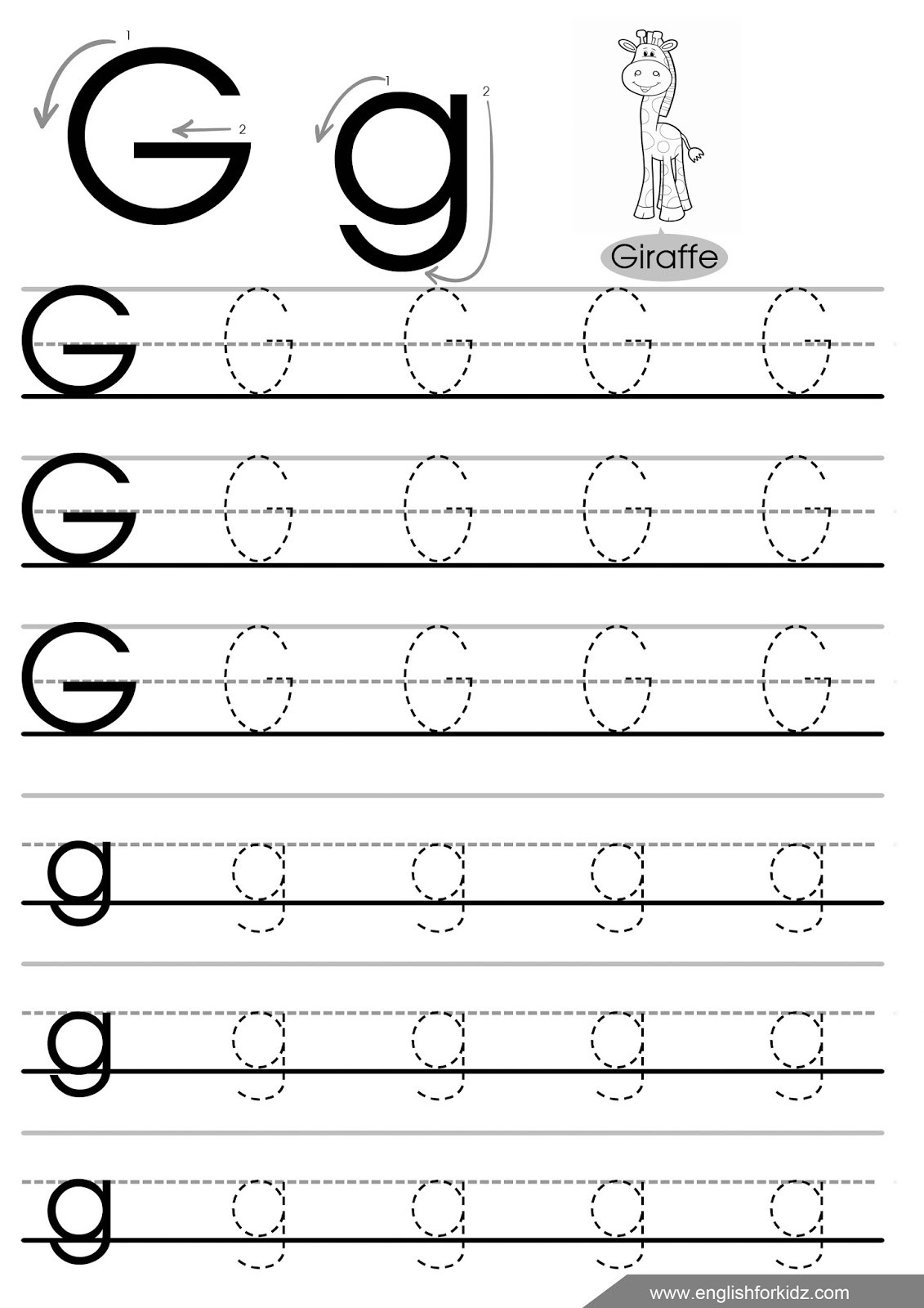 Preschool Letter G Worksheets Letter Tracing Worksheets Letters A J