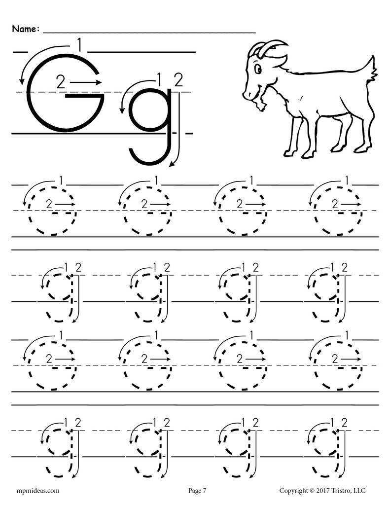 Preschool Letter G Worksheets Printable Letter G Tracing Worksheet with Number and Arrow Guides