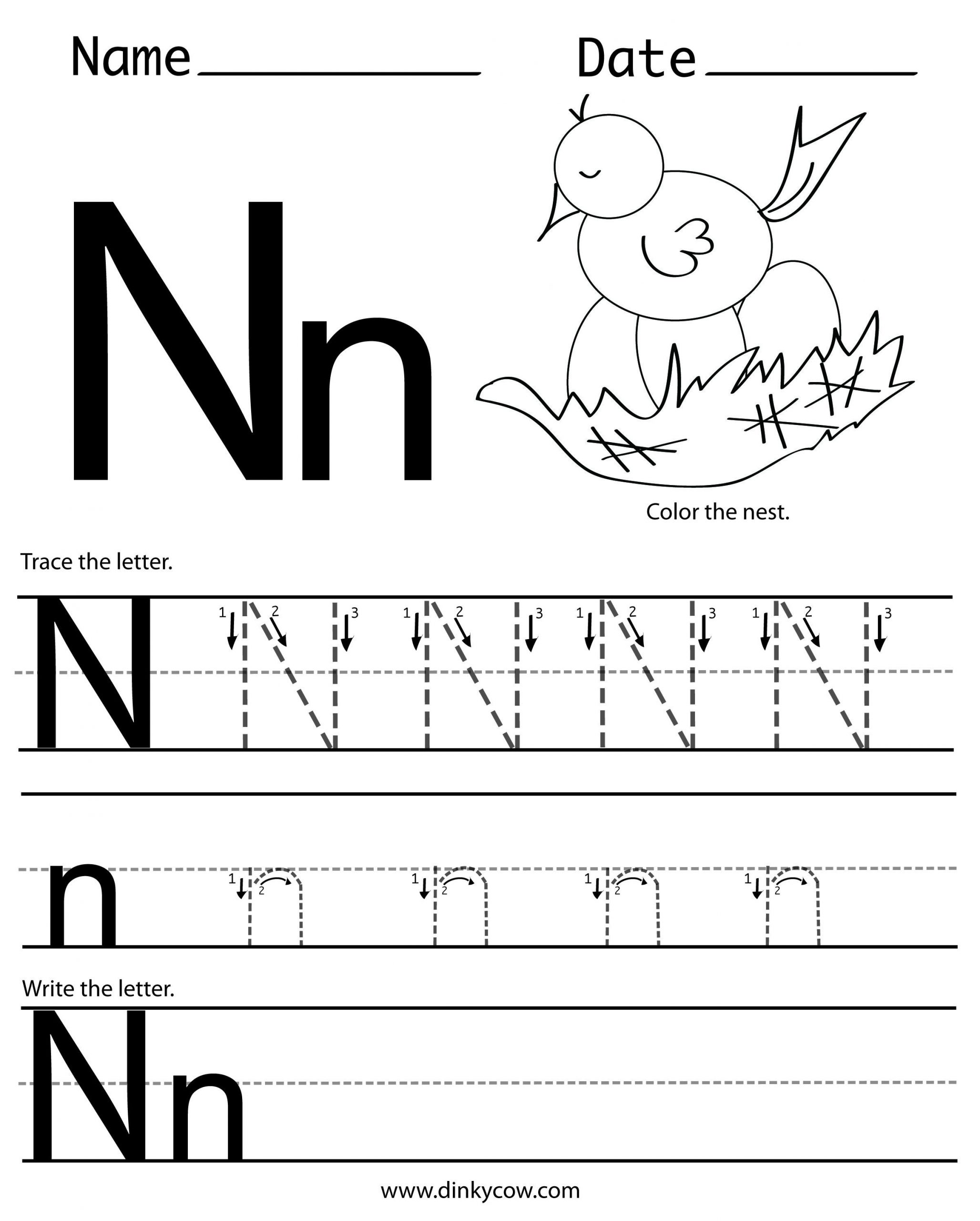 Preschool Letter N Worksheets Printable Preschool Worksheets Letter N