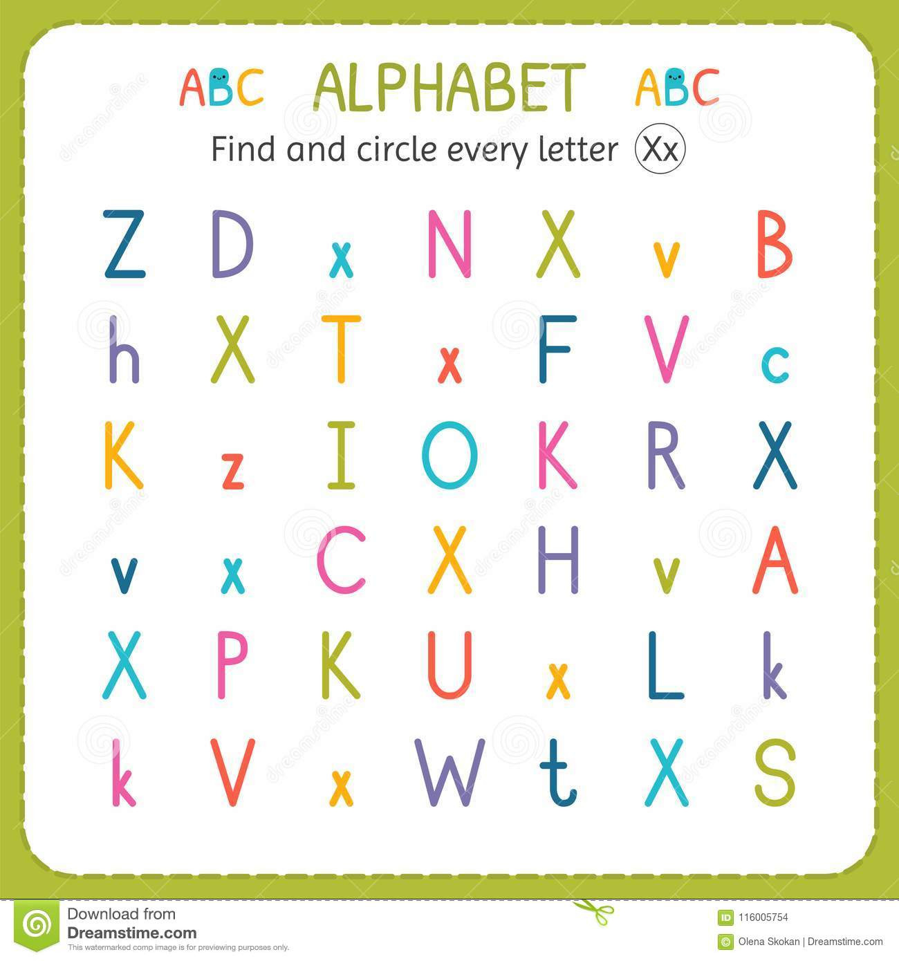Preschool Letter X Worksheets Find and Circle Every Letter X Worksheet for Kindergarten