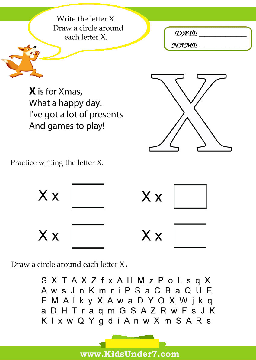 Preschool Letter X Worksheets Kids Under 7 Letter X Worksheets