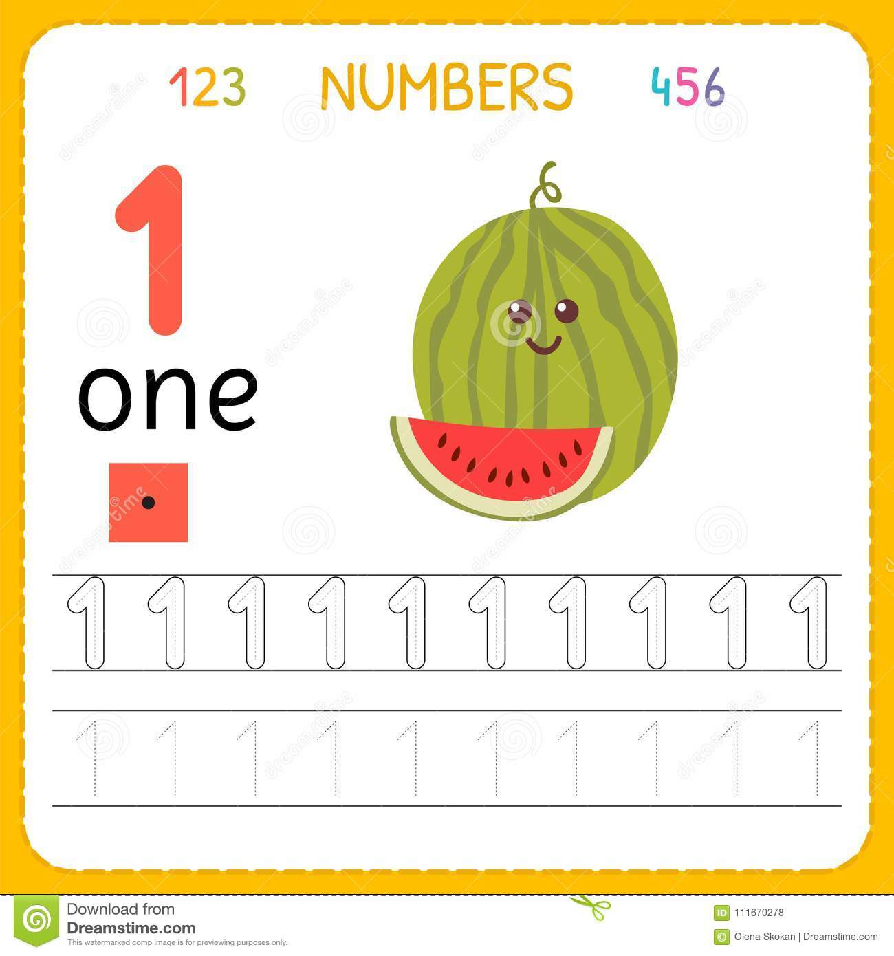 Preschool Number Tracing Math Worksheet Kindergarten Exercise Worksheet Numbers