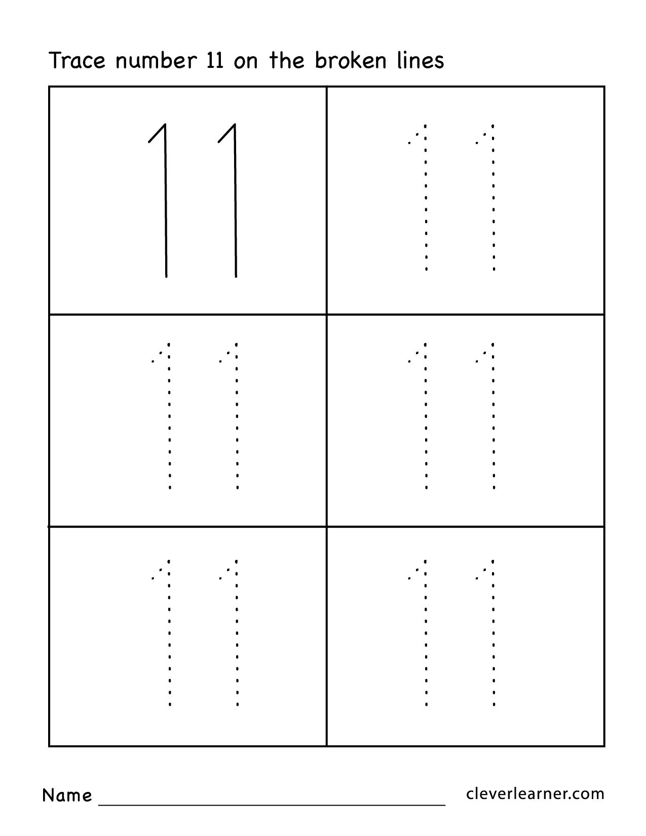 Preschool Number Tracing Number Eleven Writing Counting and Identification Printable