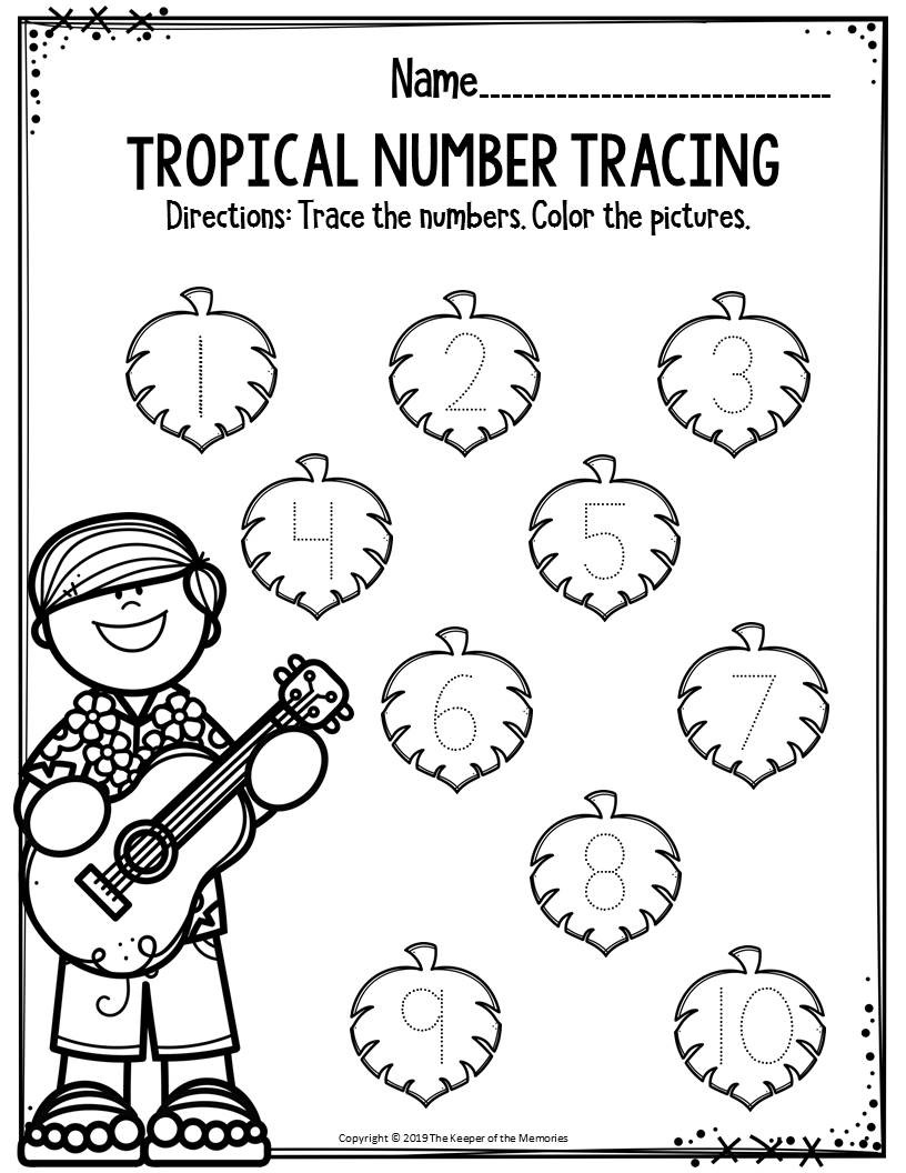 Preschool Number Tracing Preschool Worksheets Tropical Number Tracing the Keeper Of