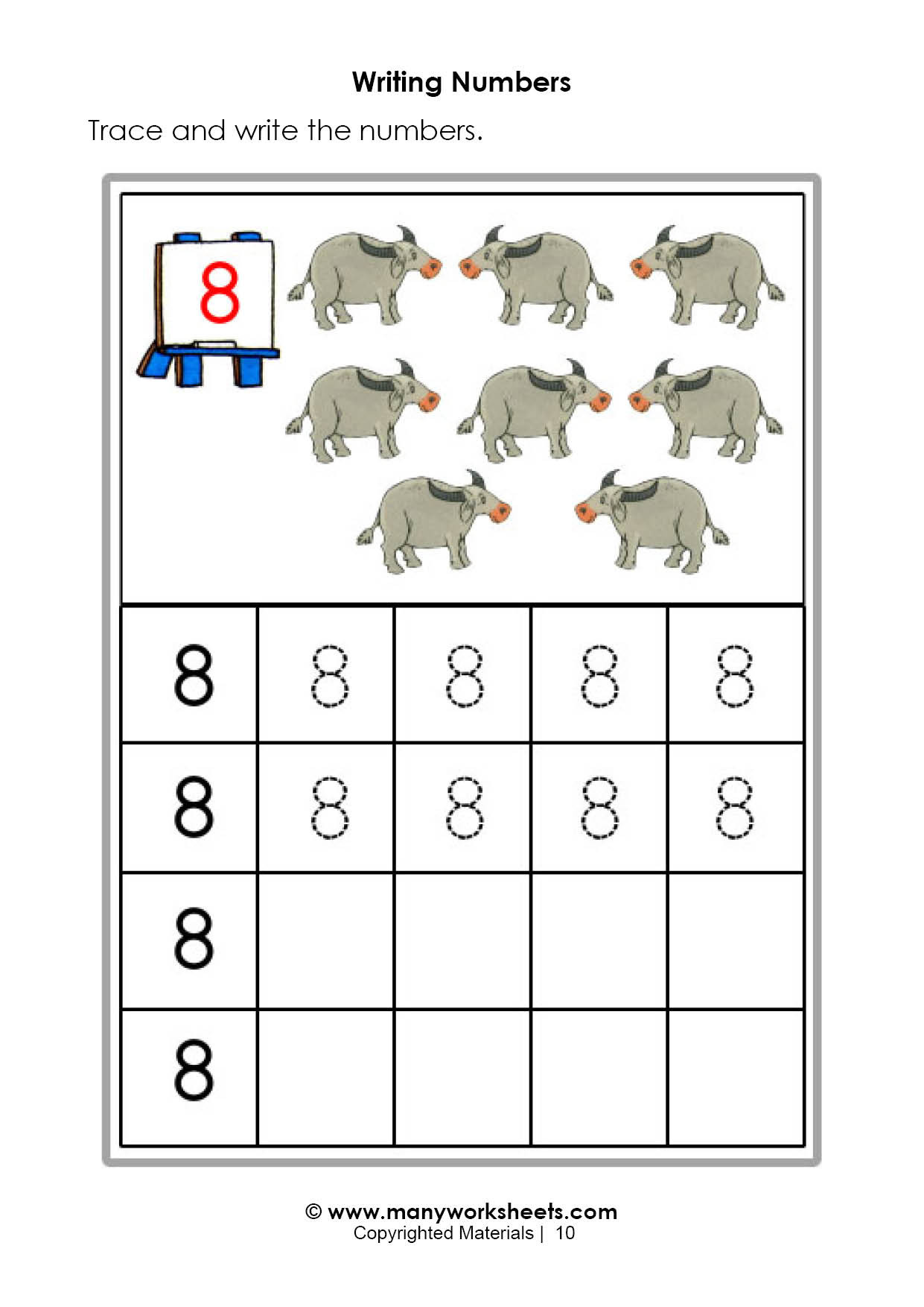 Preschool Number Tracing Tracing and Writing Number 8