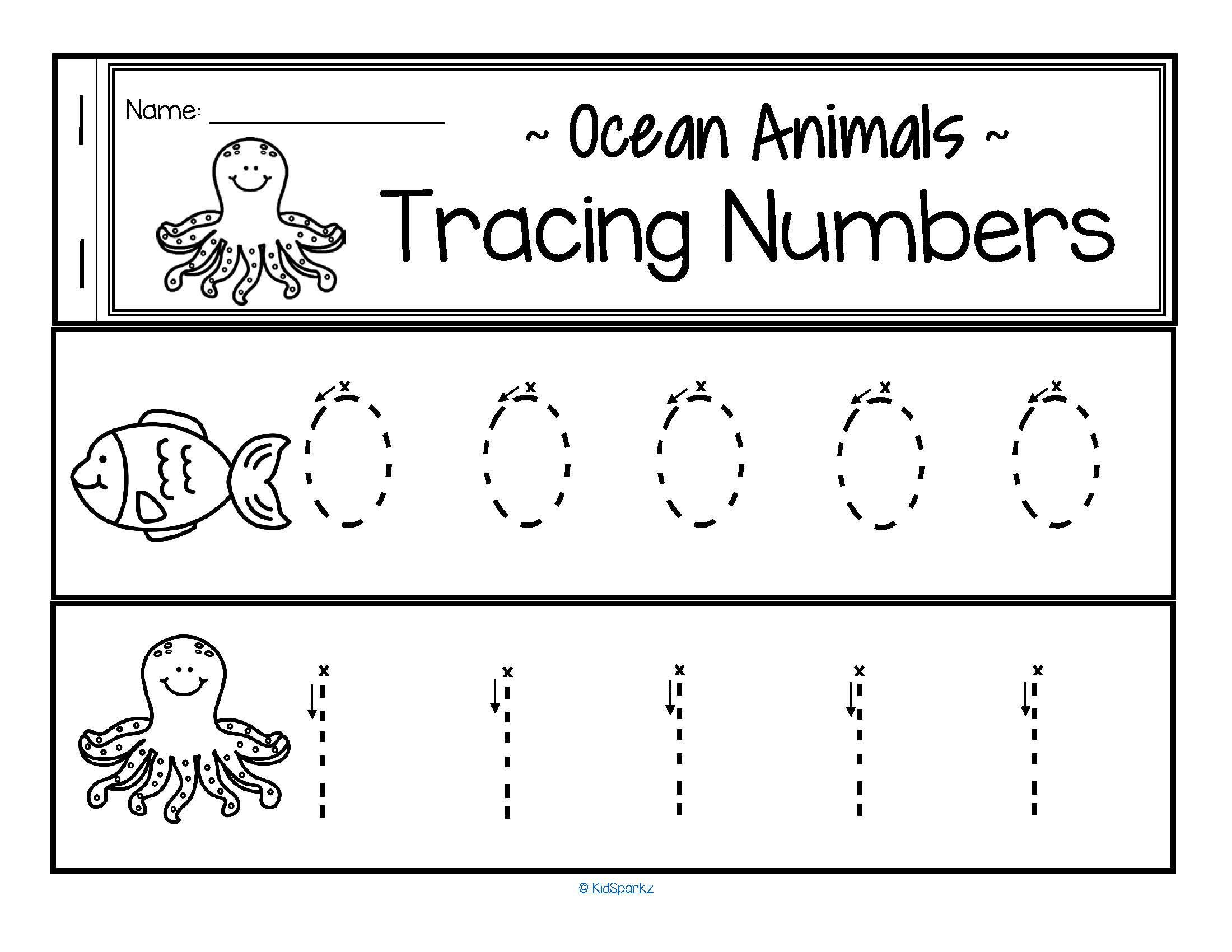 Preschool Number Tracing Tracing Numbers 0 20 for Beginning Writers Ocean Animals