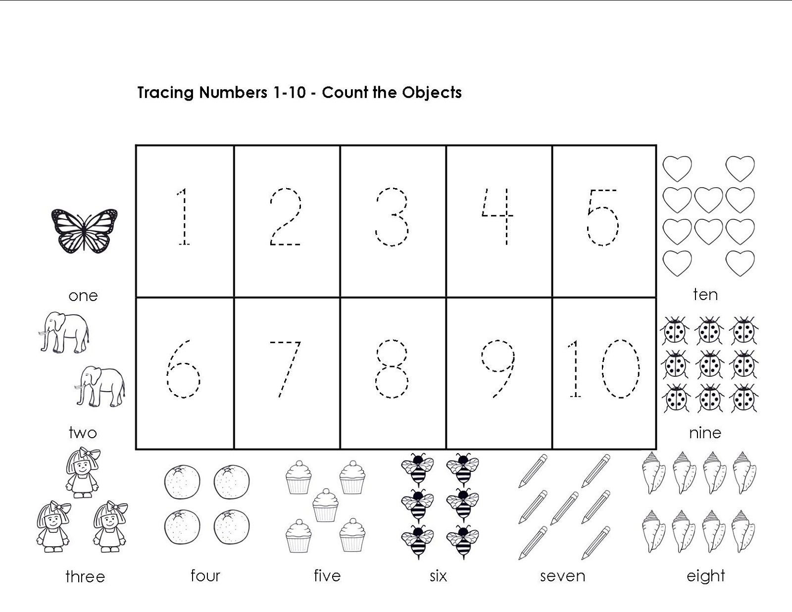 Preschool Number Tracing Tracing Numbers 1 10 Worksheets