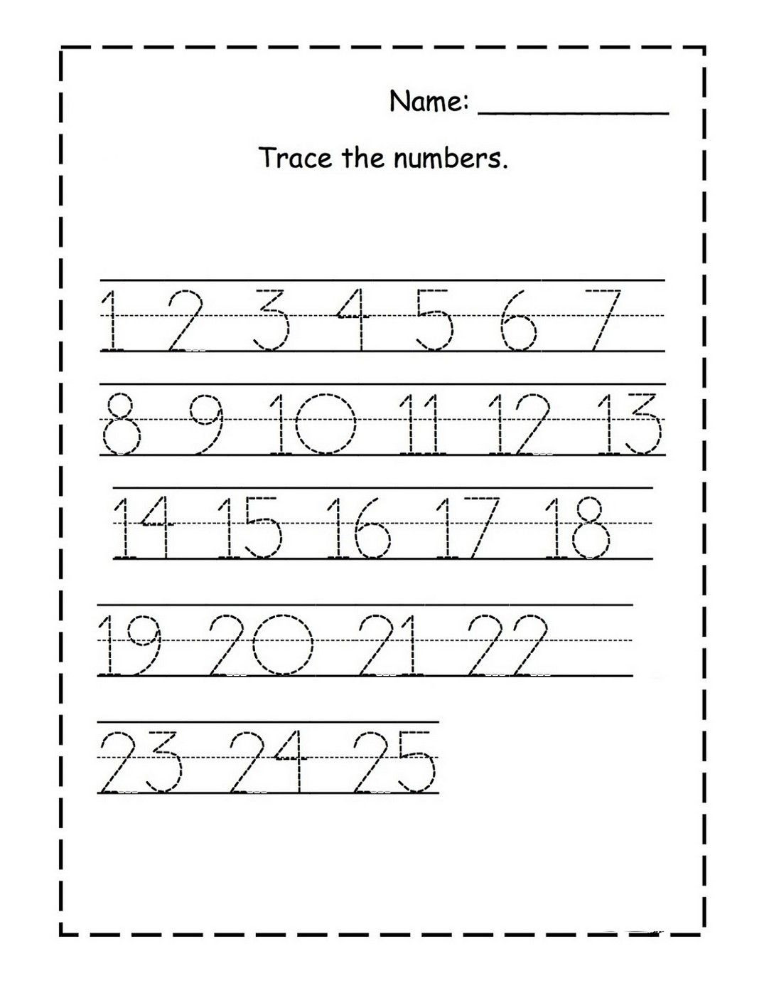 Preschool Number Tracing Tracing Numbers 1 25 for Kg Page