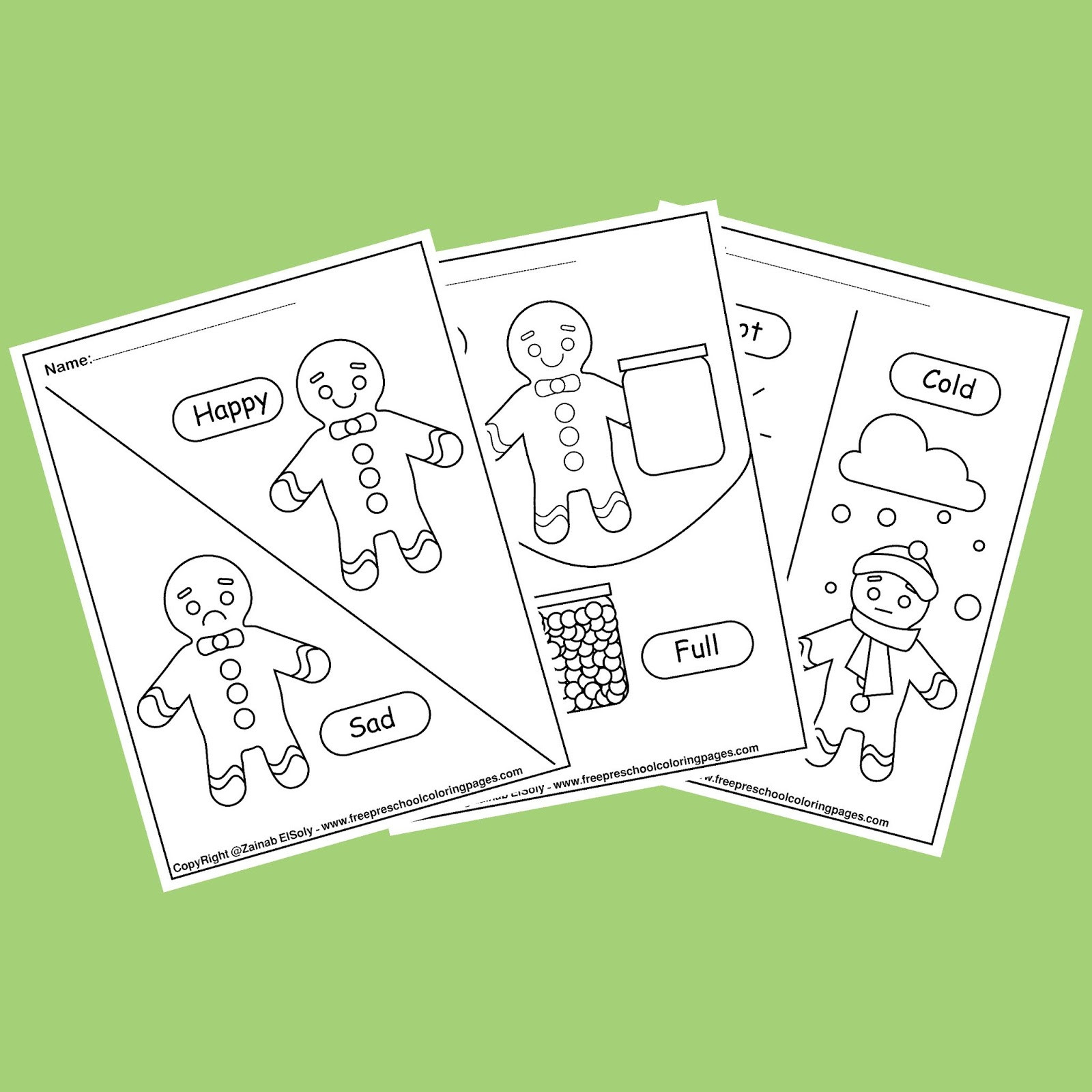 Preschool Opposite Worksheet Gingerbread Man Opposites Coloring Pages for Kids