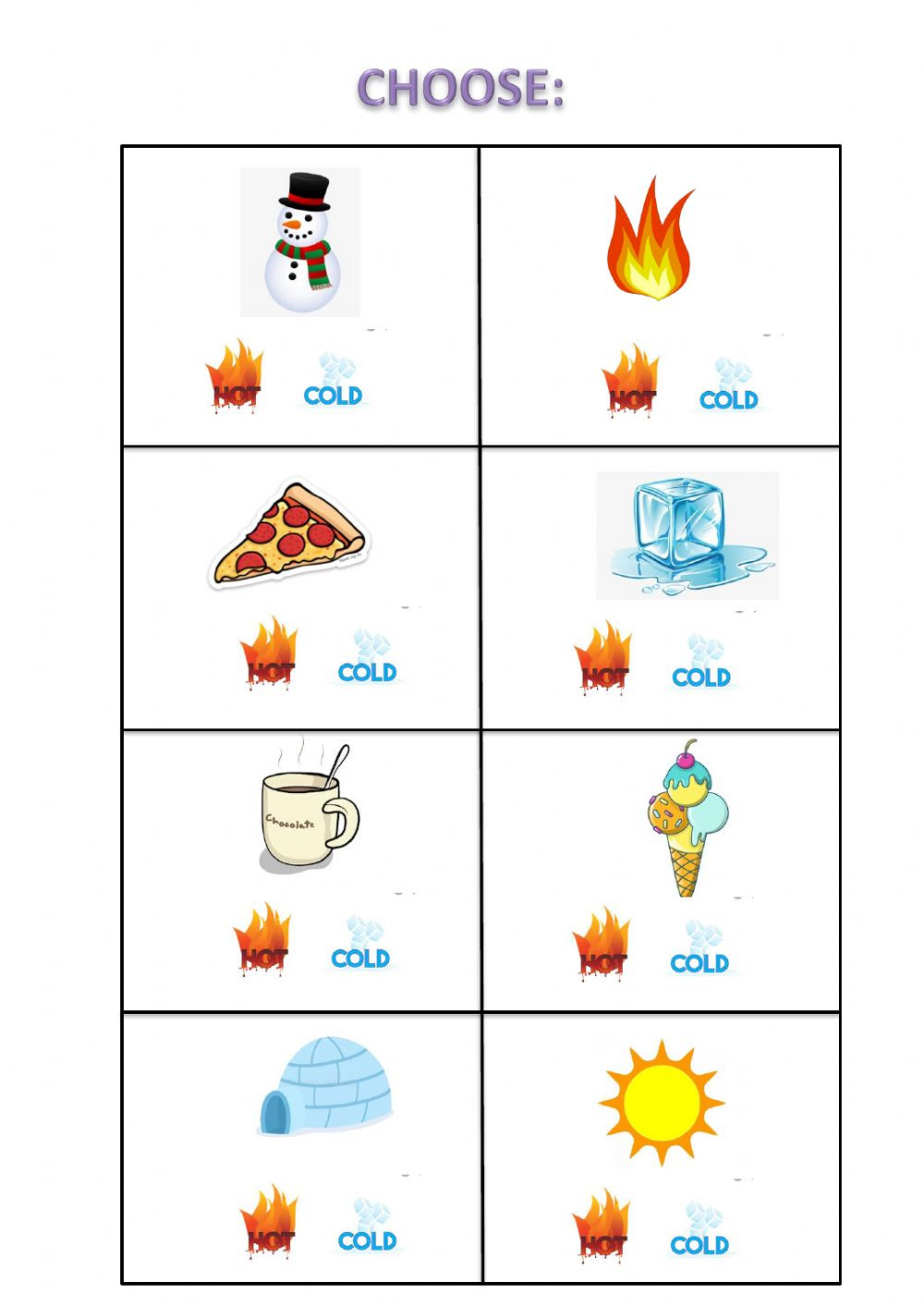 Preschool Opposite Worksheet Hot Cold Interactive Worksheet