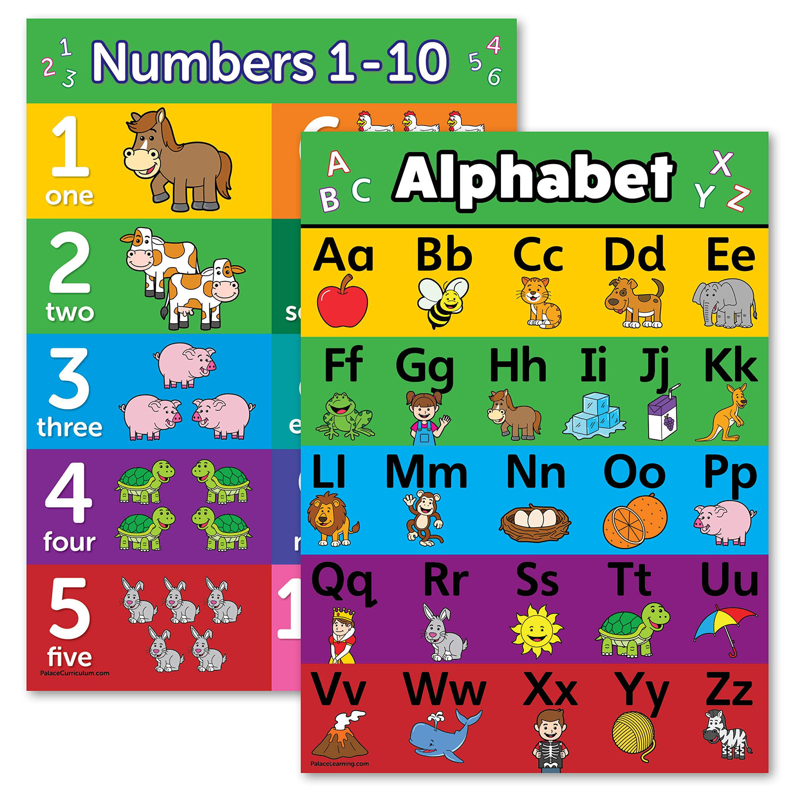 Preschool Palace Curriculum Abc Alphabet & Numbers 1 10 Poster Chart Set Laminated Double Sided 18x24