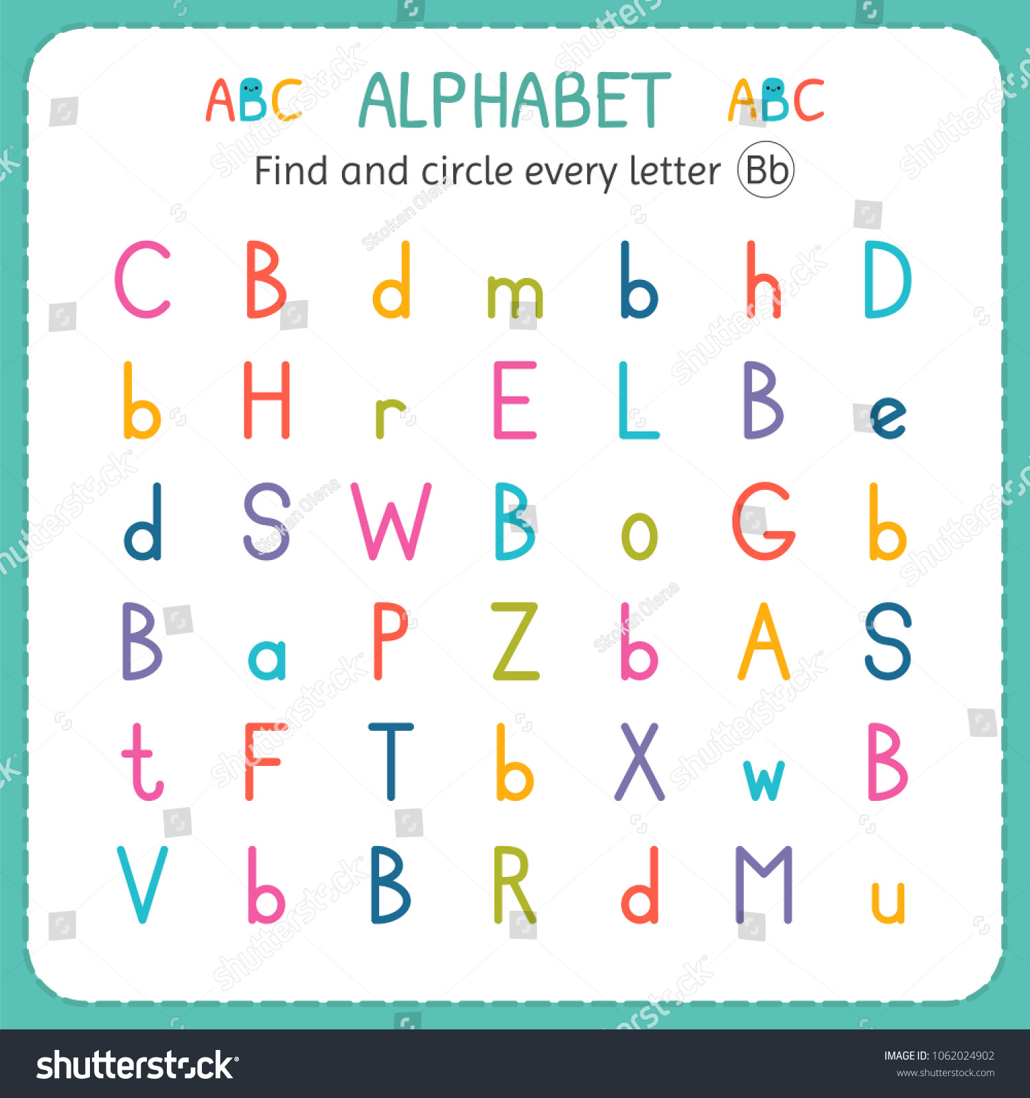 Preschool Worksheets Letter B Find Circle Every Letter B Worksheet Stock Vector Royalty