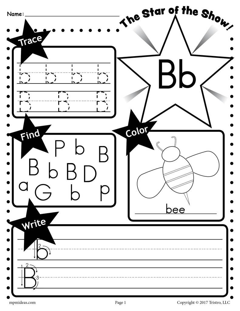 Preschool Worksheets Letter B Letter B Worksheet Tracing Coloring Writing & More