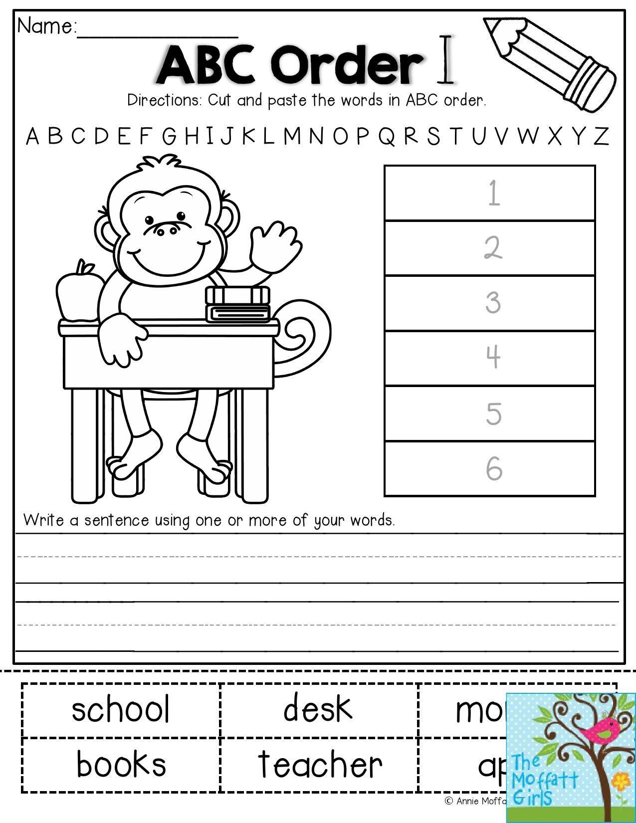 Printable Abc order Worksheets Back to School Packets