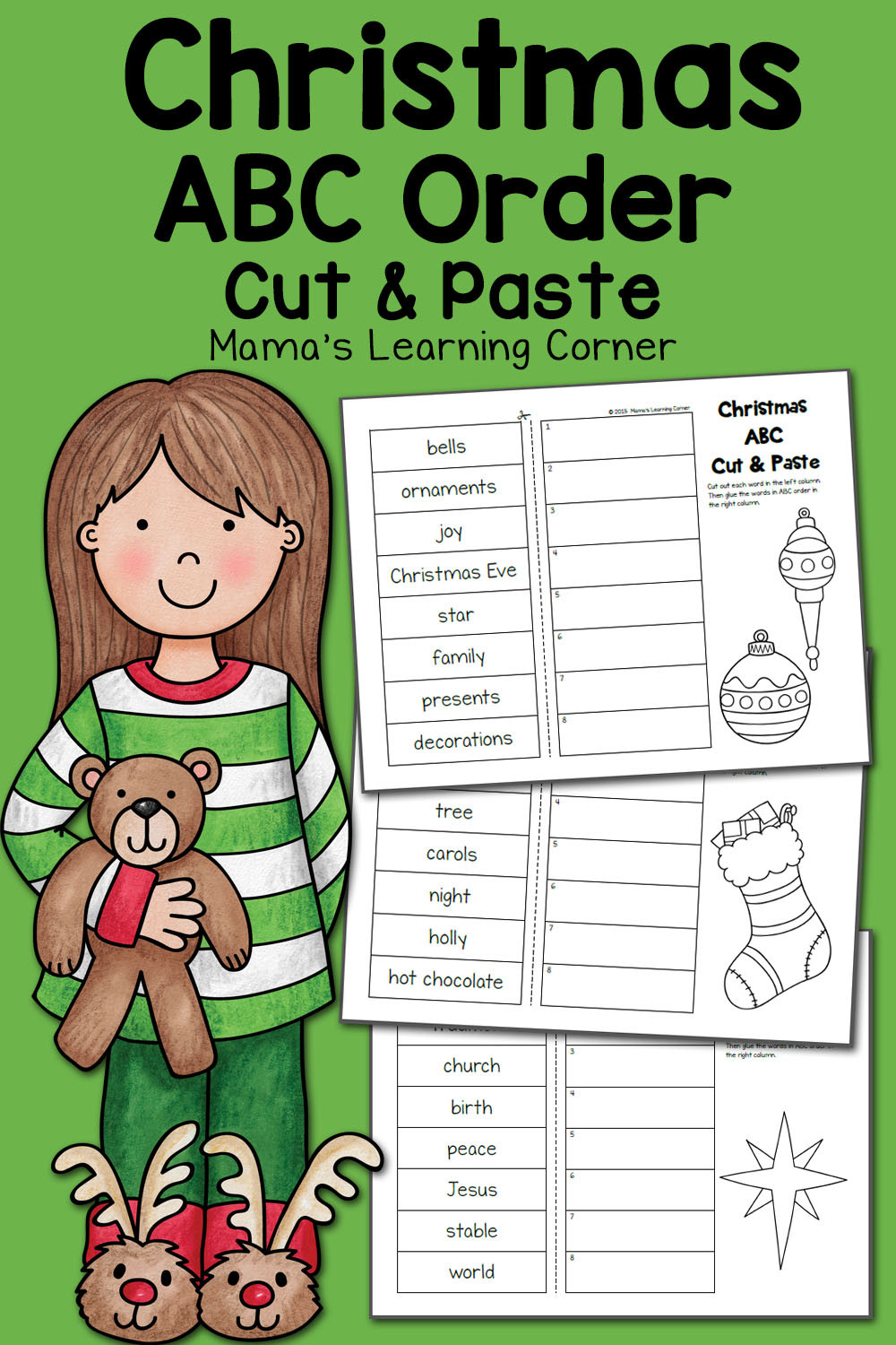 Printable Abc order Worksheets Christmas Abc order Worksheets Cut and Paste Mamas