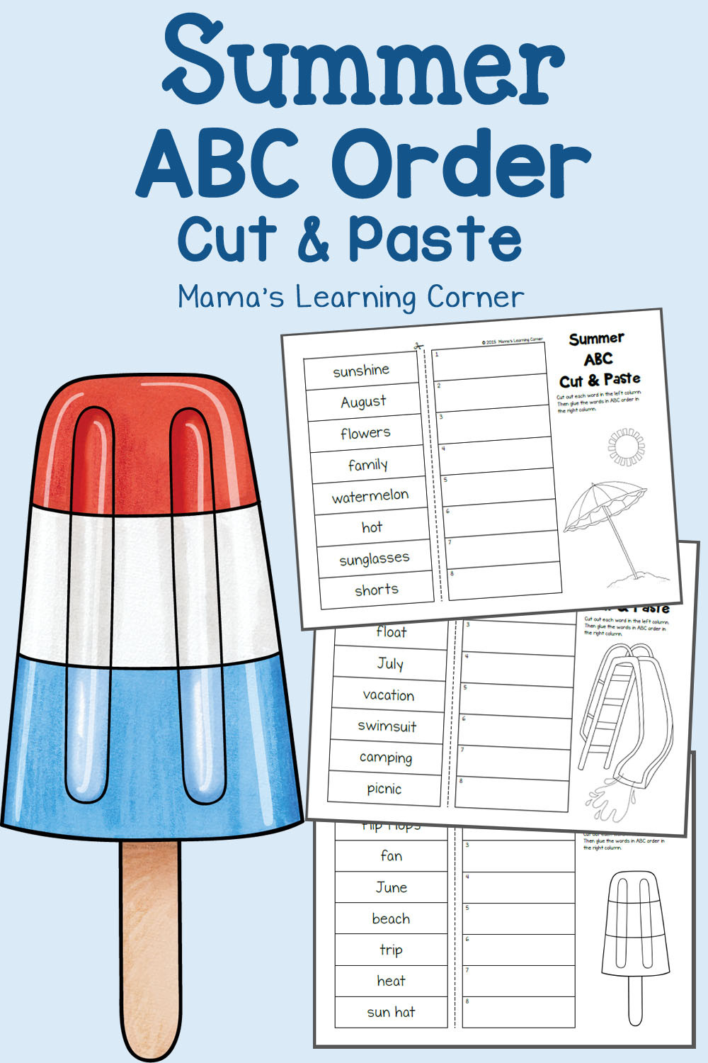 Printable Abc order Worksheets Summer Cut and Paste Abc order Worksheets Mamas Learning