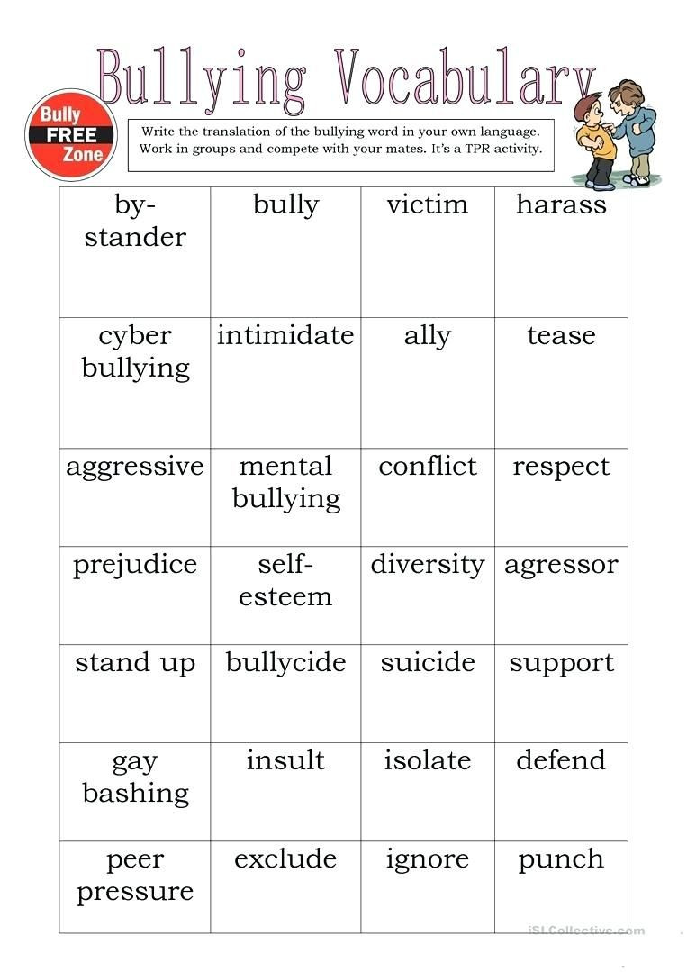 Printable Bullying Worksheets Bully Worksheets Bullying Vocabulary Full Screen Prevention