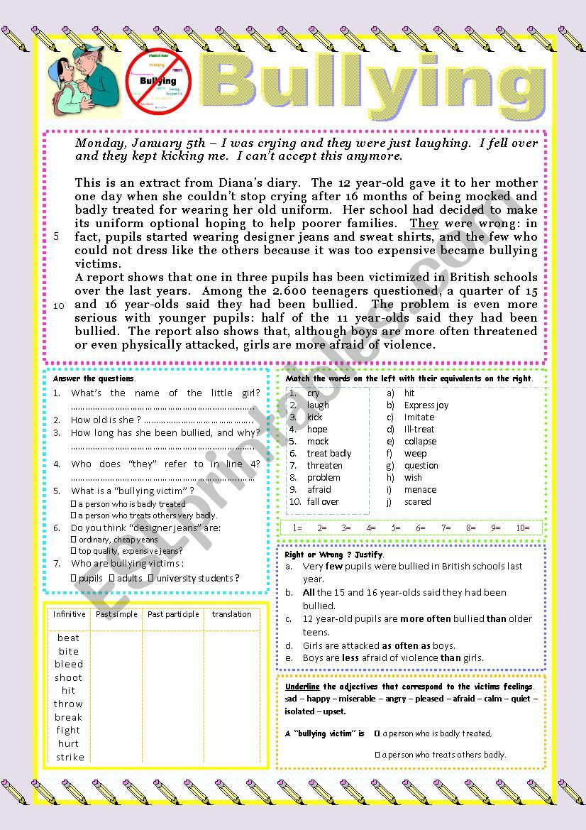 Printable Bullying Worksheets Bullying Reading or Test Esl Worksheet by Karagozian