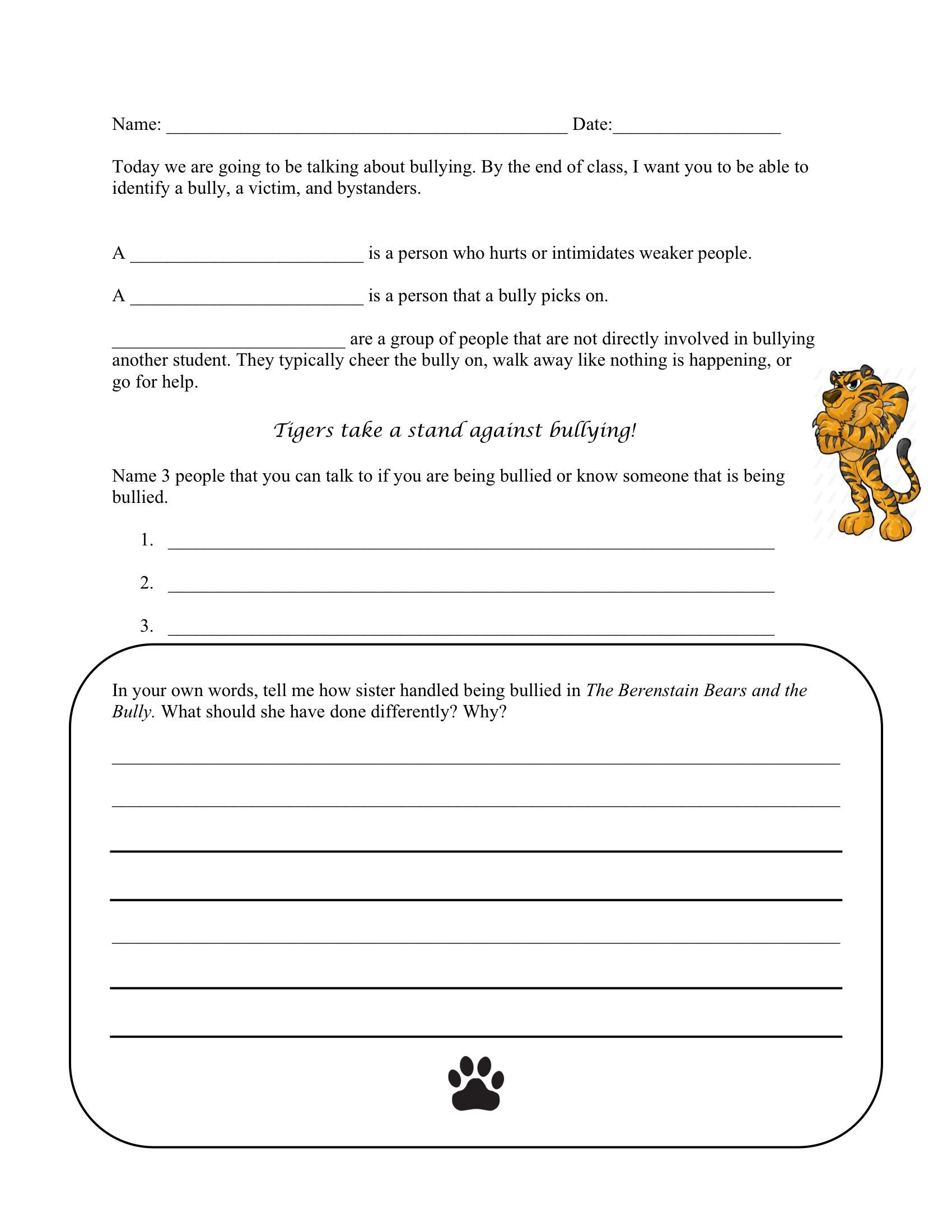 Printable Bullying Worksheets Bullying Worksheet to Go Along with the Berenstain Bears and