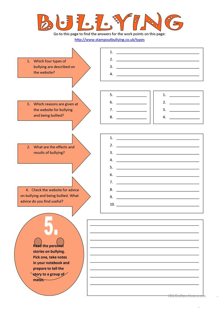 Printable Bullying Worksheets English Esl Bullying Worksheets Most Ed 47 Results