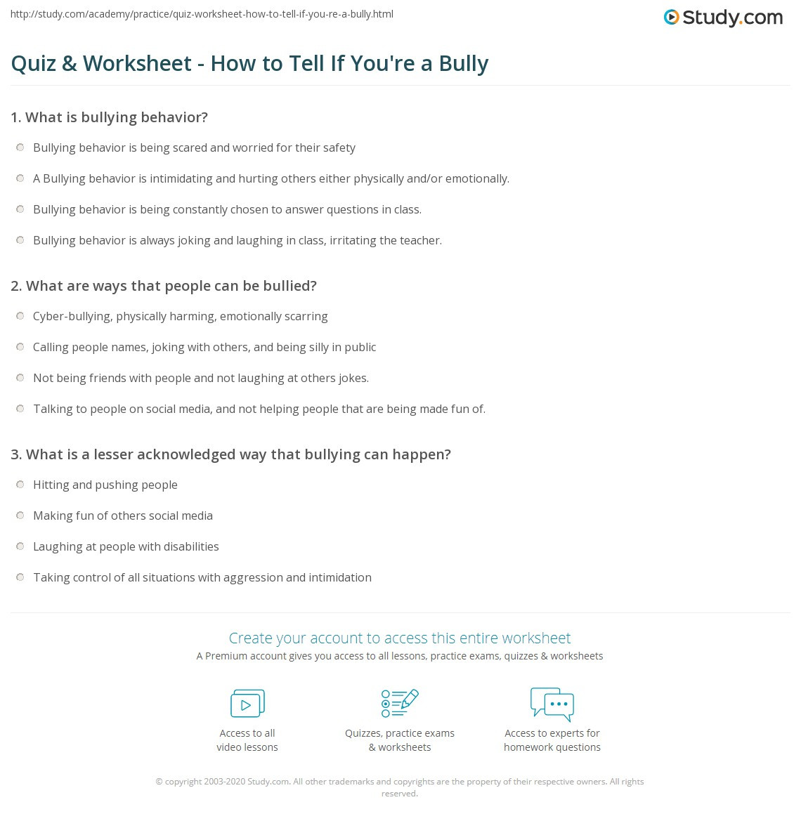 Printable Bullying Worksheets Quiz & Worksheet How to Tell if You Re A Bully