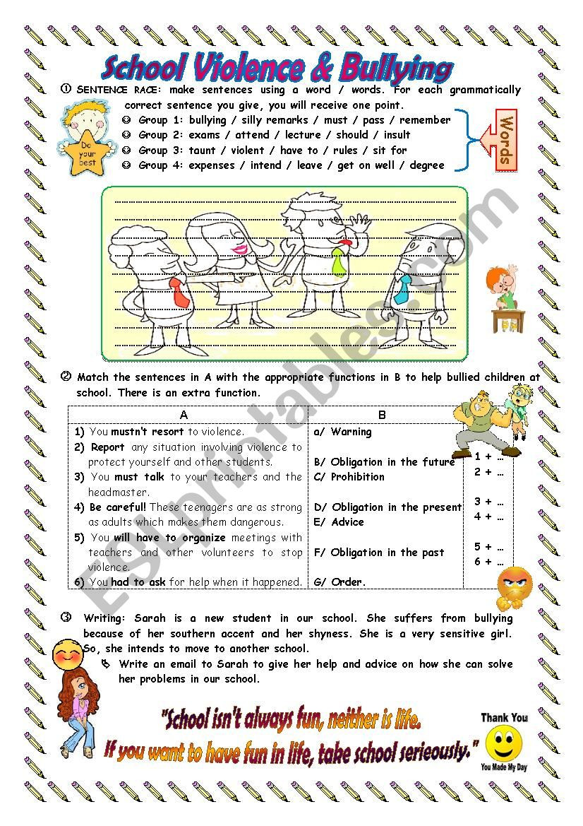 Printable Bullying Worksheets School Violence Bullying Esl Worksheet by Naema