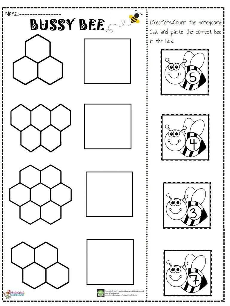 Printable Cut and Paste Worksheets Bee Number Cut and Paste Worksheet – Preschoolplanet