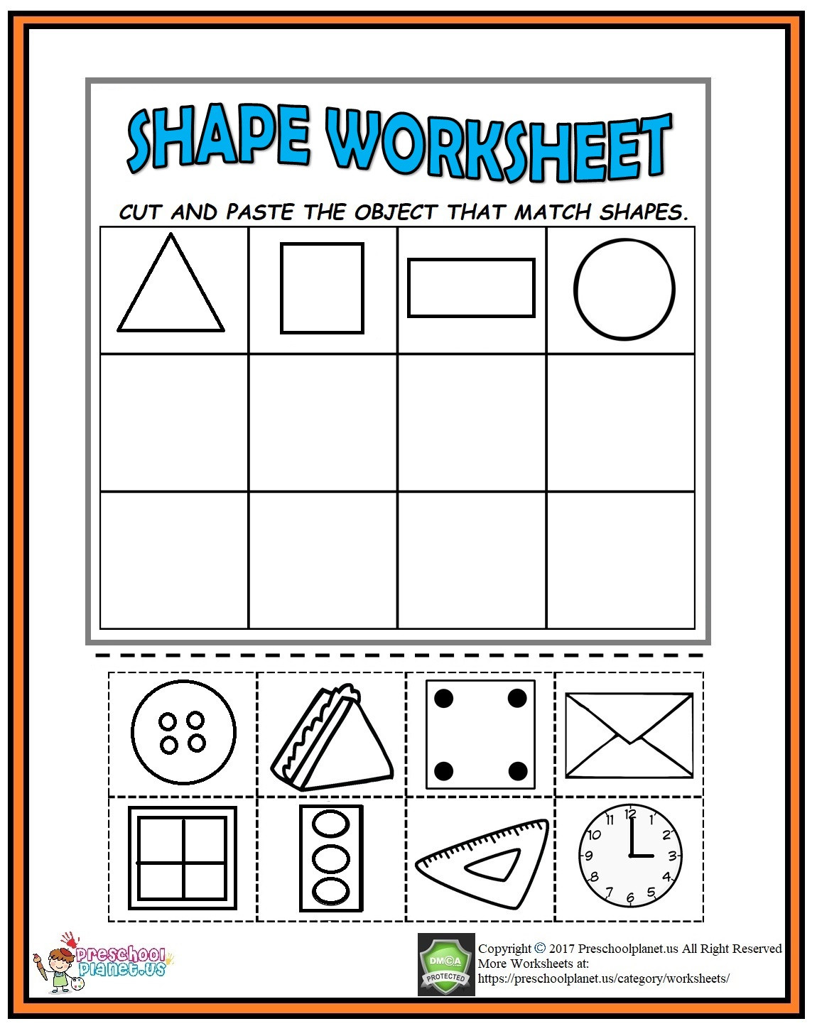 Printable Cutting Worksheets for Preschoolers Cut and Paste Shape Worksheet Preschoolplanet Cutting Shapes